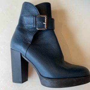 Castamere deep teal leather buckle booties size 36